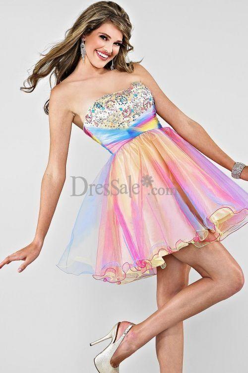 Rainbow Ombre Sweet Sixteen Short Dresses