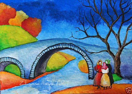 ACEO-ORIGINAL-ART-watercolor-painting-illustration-miniature-river-bridge-girls