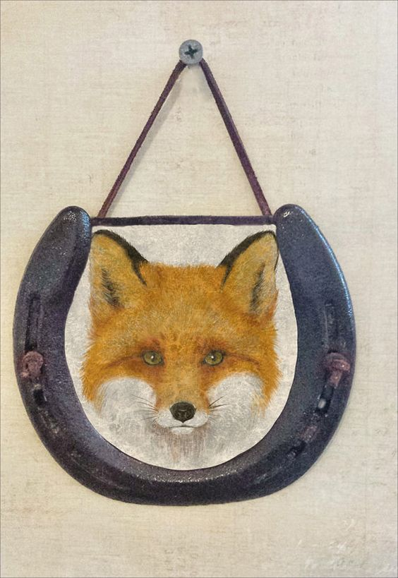 Woodland Fox Horseshoe Wall Hanging, Wildlife Image, Perfectly Aged Patina, Leather Lace Accent, Mysterious Animal, Good Luck Western Decor #woodland #fox #horseshoe
