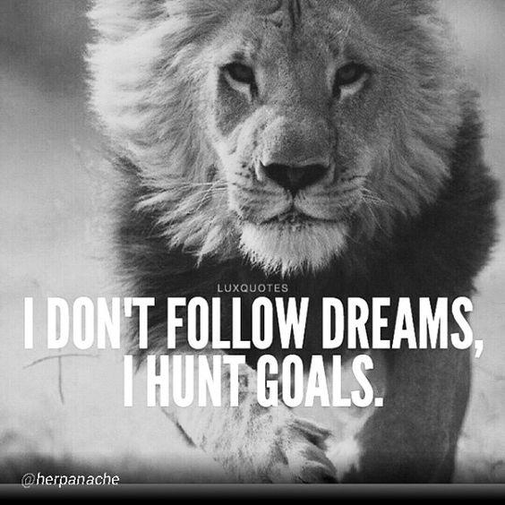 Motivational Inspirational Quotes: I Don't Follow Dreams... I Hunt Goals.