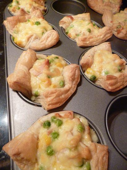Mini Chicken Puff Pastry Pies (aka Chicken Pot Pie Cupcakes)