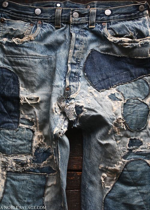 jeans... #destroyed #jeans #patches #mans #frayed #holes #stitching: