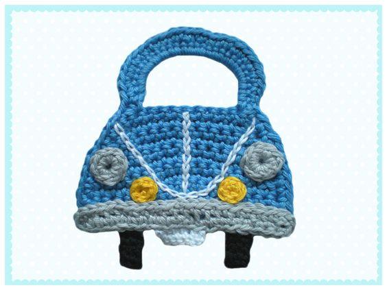 Auto Häkelapplikation von Bunt gehäkelt von Petra auf DaWanda.com