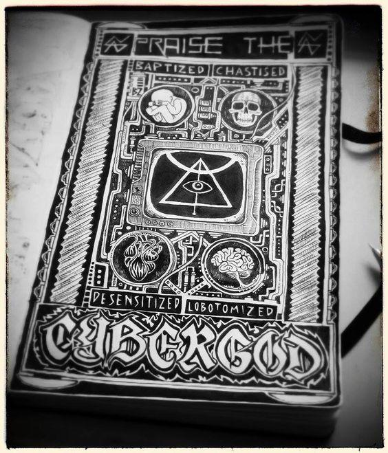"vascobrighi:  ""PRAISE THE CYBERGOD""moleskine art, ink on paperhttps://www.youtube.com/watch?v=lBRyWsH18KQ"