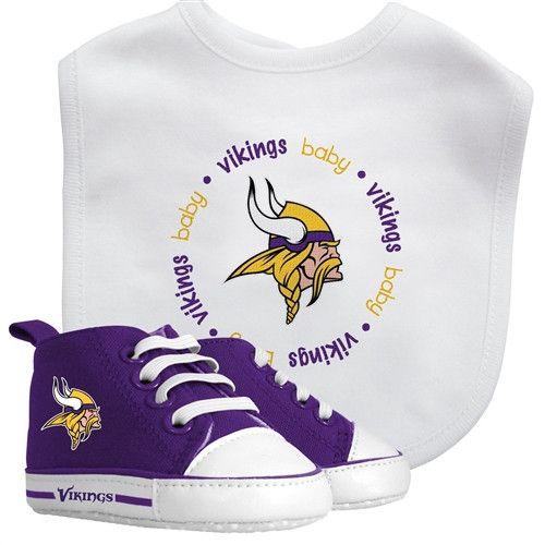 Minnesota Vikings NFL Baby Bib & Prewalk Sneaker Gift Set