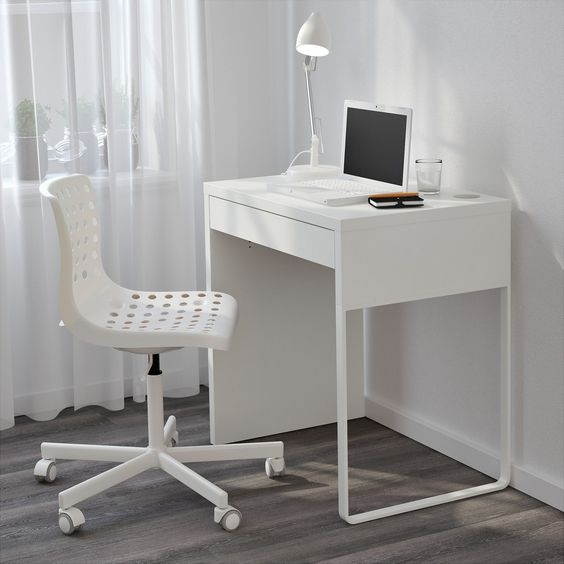 Narrow Computer Desk Ikea Micke White For Small Space Minimalist Desk Pinterest Computers
