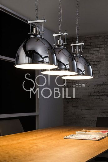 Luminaire suspension acier chrom industrielle cuisine for Suspension metal cuisine