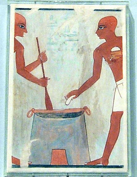 Cooking Cakes with Fat, Tomb of Rekhmire Dynasty 18, ca. 1504-1425 B.C. Egypt, Upper Egypt; Thebes, Sheikh Abd el-Qurna