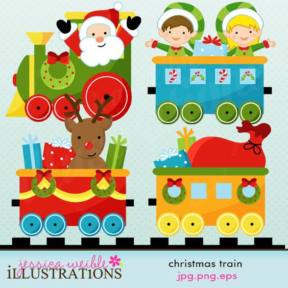 Christmas train clipart set comes with 5 train graphics with santa