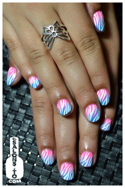 Zebra Striped birthday nails.: Birthday Nails, Nails Zebra, Cute Nails, Colorful Nails, Zebra Print Nails, Gradient Nails, Zebra Nails, Color Nails, Blue Nails