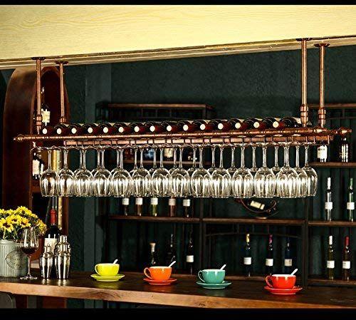Wine Bar Wall Rack 60 Hanging Bar Glass Rack Hanging Bottle Holder Adjustable Bronze Bar Glass Rack Wine Glass Hanger Hanging Wine Glass Rack