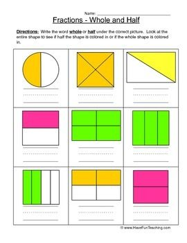 math worksheet : free whole half fractions worksheet write the word whole or half  : Writing Fractions In Words Worksheets