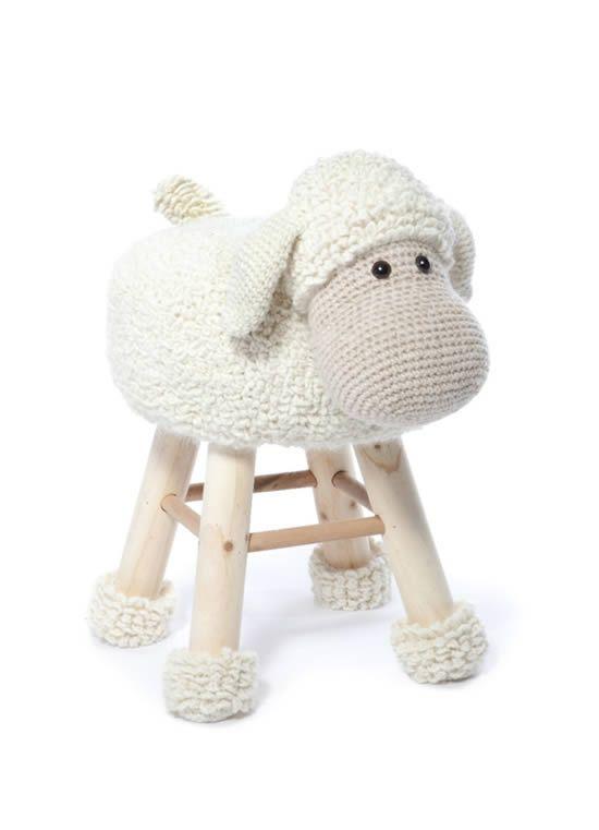 taburete ganchillo oveja