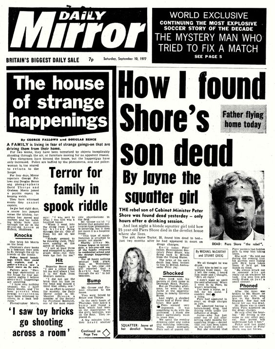 Enfield mentioned on the front page of Daily Mirror on Saturday, September 10, 1977: