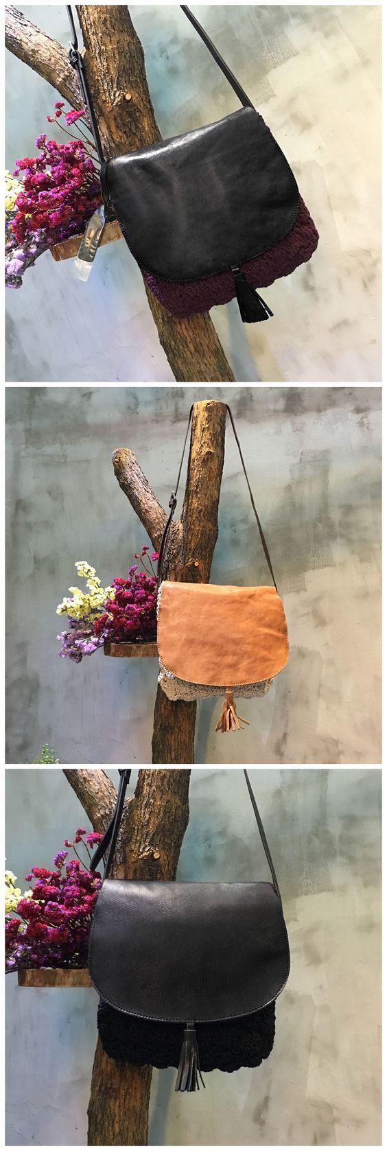 High Quality Tassel Decoration Genuine Leather Bag Knit Bag