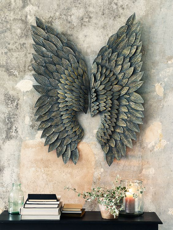 Greywash Gilt Metal Angel Wings