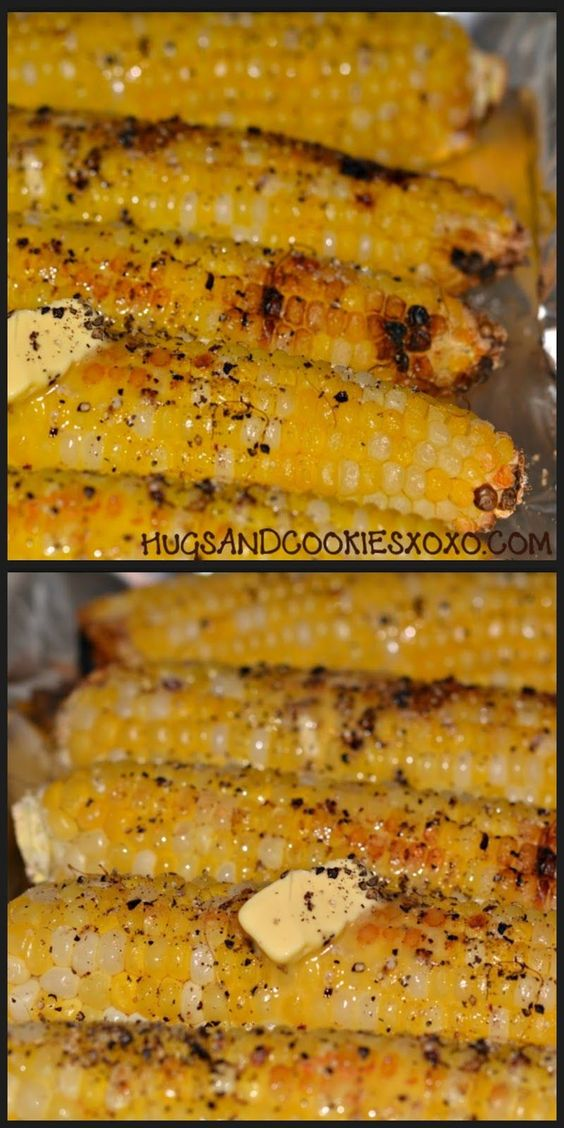 Oven Roasted Corn -  *corn on the cob *salt/pepper *butter ~Preheat oven to 400! Season corn with salt and pepper. Add a pat of butter to each and roast on a small jellyroll pan (lined with nonstick foil) for 35-45 minutes, turn occasionally. Top with a bit more butter fresh out of the oven!