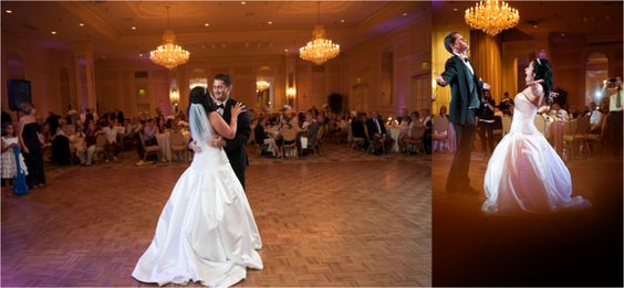 Bride and Groom First Dance | Traditional Gold and Orchid Empire Room Wedding | Becki Dickinson Photography | Leigh Pearce Weddings, Greensboro North Carolina Wedding Planner, Stylist, Coordinator
