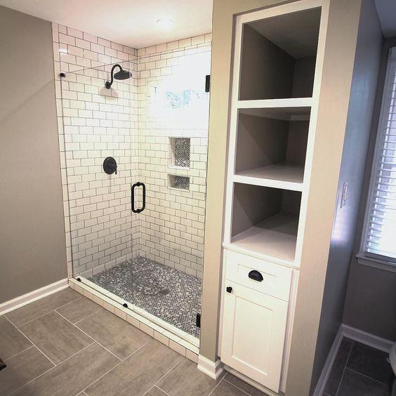 showers  shelving and tile on pinterest