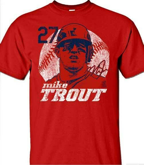 Los Angeles Angels Mlbpa Mike Trout 27 Big Face Youth Boys Cotton Tee Shirt Red Mlbpa In 2020 Cotton Tee Shirts Tee Shirts Mens Crew Neck