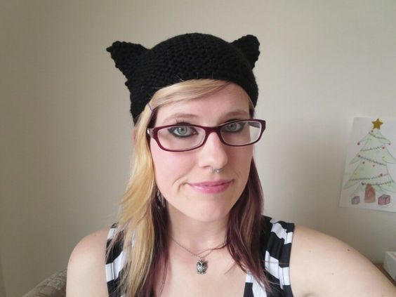 Knitted kitty hat