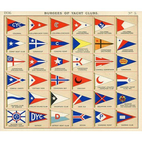 Flags Of American Yacht Clubs 1930s Yacht Yacht Club Hipster Drawings
