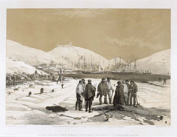 'Graves at the Head of the Harbour of Balaklava', by William Simpson, 1854 (lithograph). William Simpson (1823-99) was a Scottish painter who became noted for his depictions of the Crimean War (1853-6)