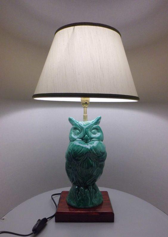 lampada Gufo in ceramica