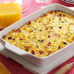 Cheesy Hash Brown Egg Casserole with Bacon Recipe from Taste of Home -- shared by Patricia Throlson of Willmar, Minnesota