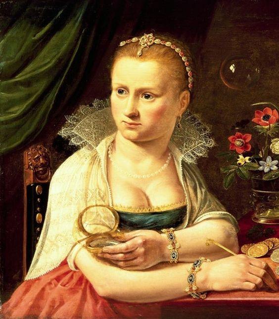автопортрет Клары Петерс на картине «Суета сует» (ок. 1613 — 1620: