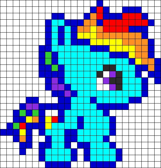 Baby Rainbow Dash Perler Bead Pattern | Bead Sprites | Characters Fuse Bead Patterns
