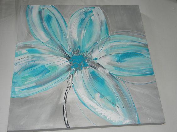 ... fleur turquoise fond gris  peinture Clo  Pinterest  Turquoise
