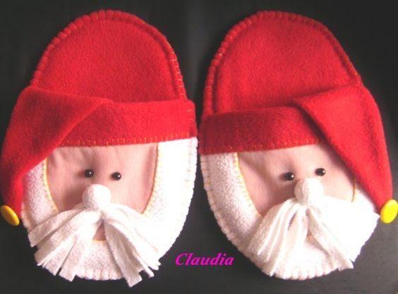 pantuflas  navideñas en tela