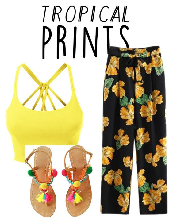 """Untitled #23"" by s-dejesus on Polyvore featuring LE3NO, tropicalprints and hottropics"