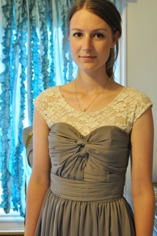Want to add straps to a strapless dress? Add a lace bodice instead ...