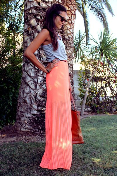 Coral maxi? Yes, please.: Maxi Dresses, Summer Maxi, Coral Skirt, Spring Summer, Long Skirts, Neon Dresses, Coral Maxi Skirts, Pleated Maxi Skirts