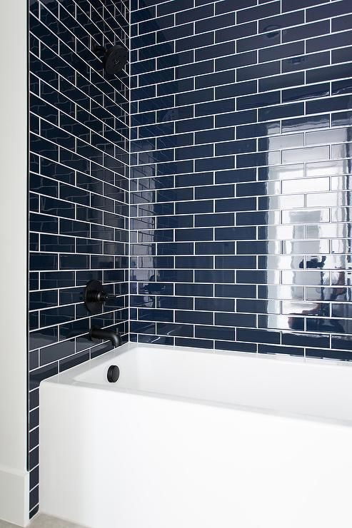 Navy Tile Trend Alert Medium Bathroom Ideas Houzz Master Bathrooms Traditional Modern Bathro Bathroom Interior Bathroom Interior Design Bathrooms Remodel