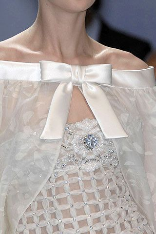 Valentino, Spring Lattice bodice details (did this with ribbons on a ballet bodice years ago). Really like it tonal and for ladies.
