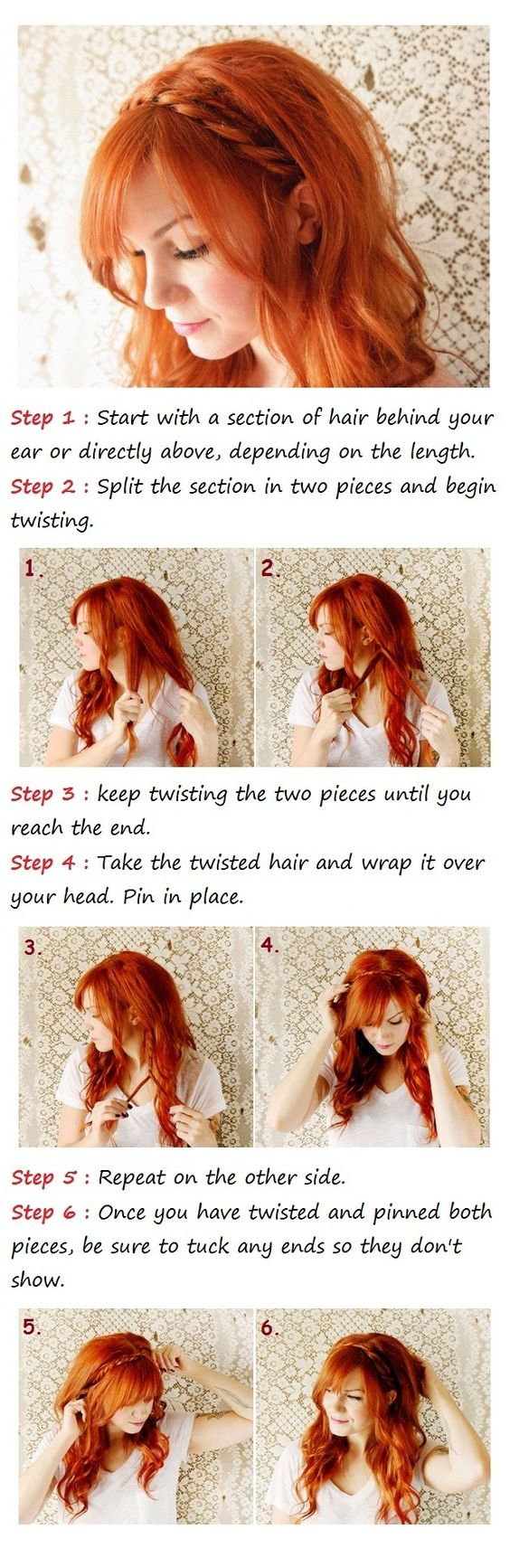 Cute, simple... for those rare days I wear my hair down. and what a gorgeous copper red!.... wish my hair would do this so I could have long, swoopy bangs.