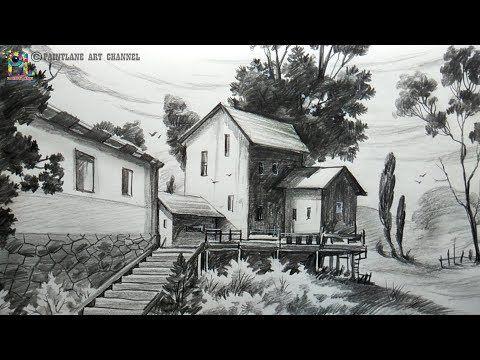 2 Learn Simple Pencil Landscape Art For Beginners Step By Step Youtube Landscape Art Landscape Drawings Pencil Sketches Landscape