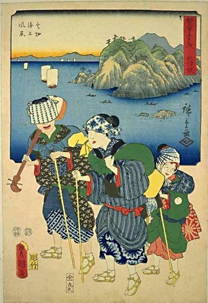 Maisaka. from the 53 Stations of the Tokaido by Two Brushes (1857). In these prints, the upper part consists of a Tokaido view by Hiroshige and in the lower part there are large figures by Kunisada illustrative of legends.