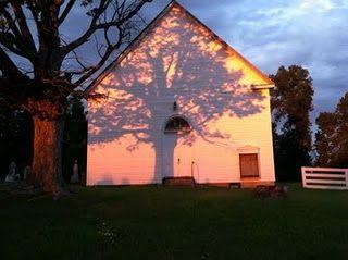 Oak shadow on old Indiana church