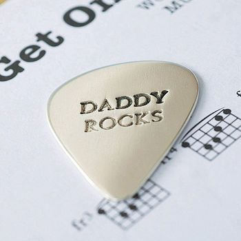 """well, mine wouldn't say """"daddy rocks"""", but i love the personalized pick.... http://www.notonthehighstreet.com/melindamulcahy/product/personalised-silver-plectrum"""