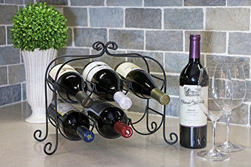 Kitchenedge Annabel 6 Bottle Metal Wine Rack For Tabletop Or