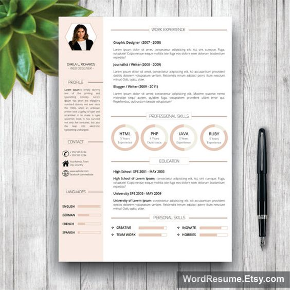 Resume Template With Photo + Cover Letter / Cv Template (Us Letter