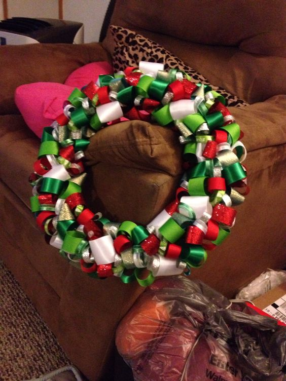 Christmas ribbon wreath I made! My handmade creations! Pinterest