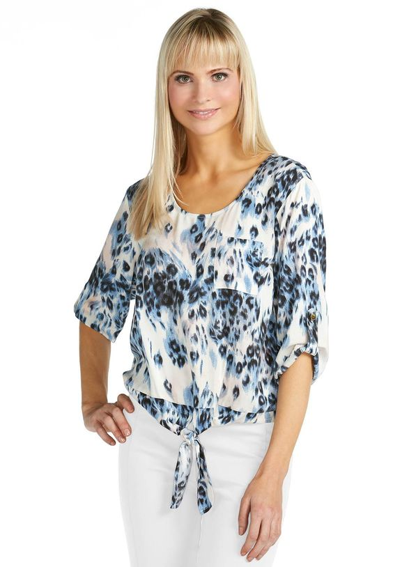 Tie Front Scoop Neck Top Shirts & Blouses Cato Fashions