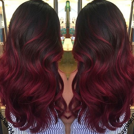 Dark Base Color With Burgundy Red Ends Balyage  LookBook  Pinterest  My Ha