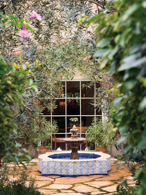 Twilley Added A Moroccan Fountain And Mature Olive Trees