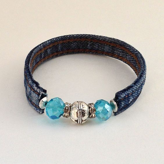 Denim Blue Beaded Wrap Jean Bracelet, Recycle Upcycle Eclectic Wrap Braclet, Blue & Silver Beads Denim Seams by EverydayWomenJewelry on Etsy https://www.etsy.com/listing/233482239/denim-blue-beaded-wrap-jean-bracelet